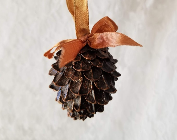 "Handmade Heavy Pine Cone Hanging Ornament ~ Symbolic ~ Traditional RESIN Pine Cone Gift ~ 3"" by 2"""