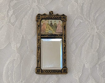 Dollhouse Miniature Wall Mirror for Dollhouse ~ 1:12 Scale ~ Vintage Dollhouse Furniture ~ Victorian Decor ~ Signed by Artist ~ Leeds 1981