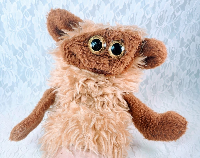 Vintage 1960s Plush Monkey? Hand Puppet ~ Updated Eyes ~ Felt Mouth ~ Collectible Hand Puppets ~ Unique Gift
