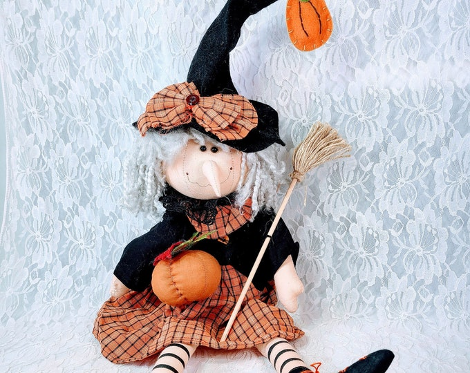 Hand Painted Shelf Sitter Primitive Cloth Witch Doll ~ Halloween Décor 23 Inches ~ Collectible Rustic Fall Décor