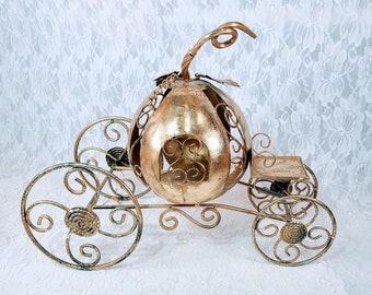 Gold Cinderella Pumpkin Carriage Centerpiece ~ Decorative Princess Carriage ~ Doll Furniture ~ Doll Display