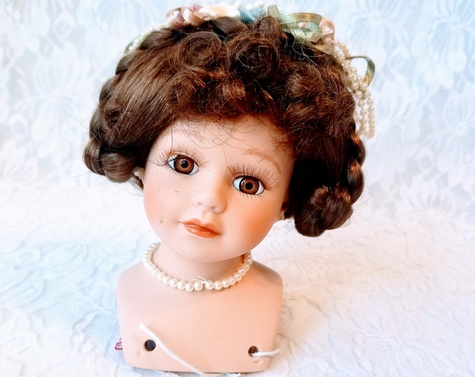 """Vintage Porcelain Bisque Brunette Doll Head for 16-18"""" Doll - Painted with Eyelashes and Wig - Doll Head ~ Doll Making ~ Doll Repair"""