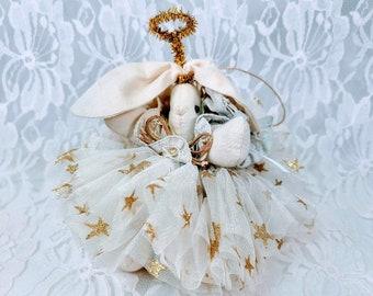 Handmade Primitive Shabby Aged Ivory Cloth Angel Bunny Girl Doll Lace Satin Tulle Fabric Textile Rag Doll