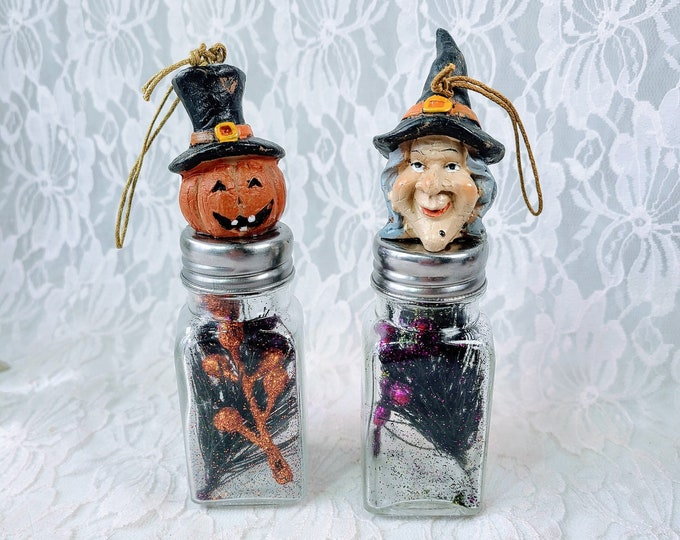 OOAK Handmade Repurposed Salt Pepper Shakers Light-Up Halloween Figurines ~ Halloween Décor ~ Fall Decoration