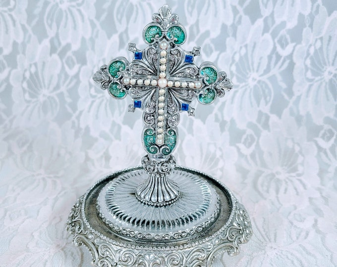 """The Franklin Mint House of Fratelli Coppini Limited Edition """"The Gates to Paradise"""" Hand-Painted Jeweled Cross"""
