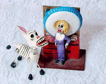 "Catrina Doll and Mule ~ Made in Mexico ~ 1960s Folk Art Paper Mache Mexican Folk Art 3.5"" ~ Souvenir of Tijuana, Mexico ~ Sold As-Is"