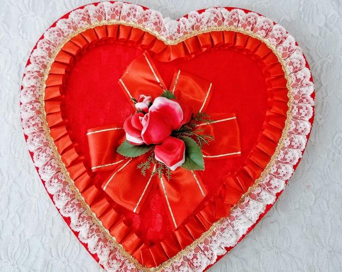 "LARGE 13"" Vintage 1960s Valentine Candy Box Heart Box ~ RARE Silk Rose & Ribbon Lace Ruffle Candy Box  ~ Free Ship USA"