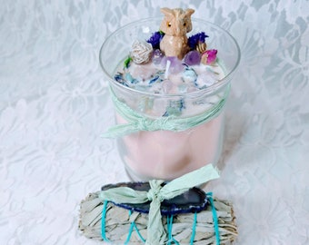 Only 2 LEFT! Gift Sets! HUGE Crystal Candle with Silk Wrapped Sage Bundle ~ Carved Agate Owl ~ Soy Wax Candle & Charged Crystals