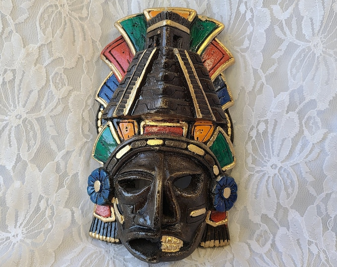 "Aztec Mayan Resin? Wood? Mask ~ Hand Painted ~ Shamanic Mask 7"" by 5"" Altar Decor"
