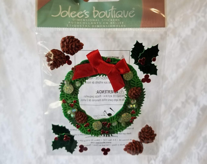 Scrapbooking Stickers: Jolee's Boutique & Recollections Christmas Wreath Stickers ~ Holidays ~ Winter