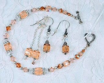 """OOAK Jewelry SET~ Two sets of Earrings and a Plus Size 9"""" Bracelet Faceted Czech Glass Beads w/Sterling Silver 925 Bali Accents"""