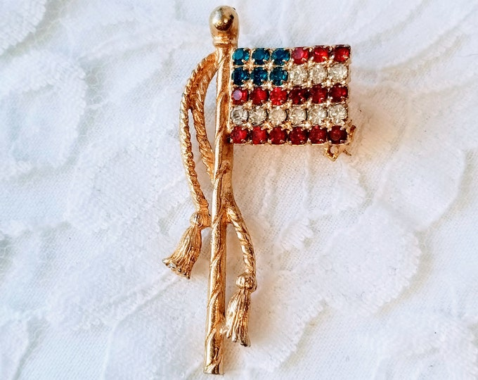 Vintage American Flag Brooch ~ Fourth of July ~ Memorial Day Jewelry ~ Rhinestone ~ Red, White and Blue ~ Gold Tone Pin Brooch