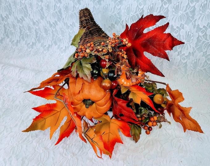 Cornucopia Horn of Plenty Thanksgiving Faux Silk Floral Arrangement Centerpiece ~ Fall Décor Decorations ~ Floral Arrangement
