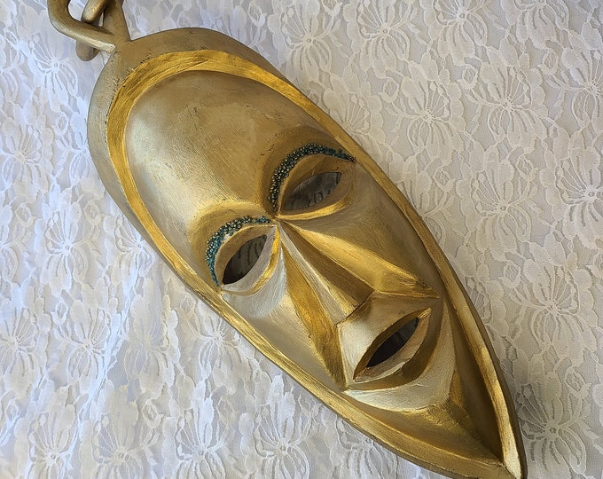 Moon Goddess Vintage HUGE Hand Carved Wood Balinese Golden Moon Face Mask ~ Hand Carved Hand Painted ~ Wall Hanging ~ Gold