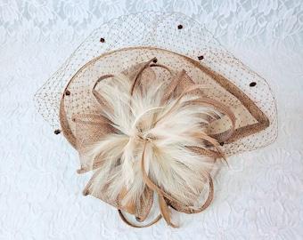 Vintage Rockabilly 1950-1960s Brown Mesh Hat Fascinator Headband Type ~ Pillbox Era Hat ~ Great Condition ~ No Tag