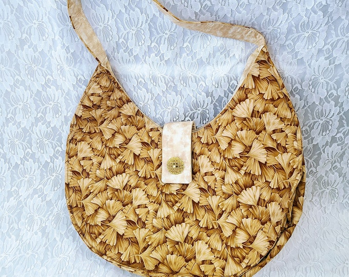 Handmade Rounded GINKO Vintage Style Purse ~ Shoulder Bag ~ Handbag ~ Perfect for Phone and Essentials ~ OOAK Satchel