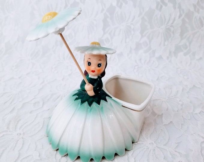 Vintage 1956 NAPCO Flower Girl Planter # A1702C ~ Beautiful Little Flower Girl Figurine ~ Rare and Hard to Find! ~ SEE All Pics!