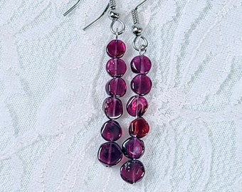 REAL GARNET Handmade Sterling Silver Beaded Garnet Coin Earrings ~ Stainless Ear Wires ~ Dangle Earrings