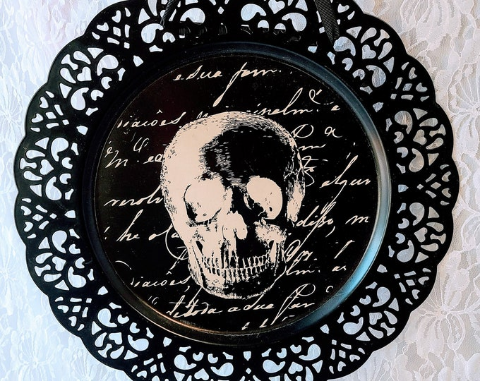 "Halloween Skulls ~ Samhain Decor ~ 13"" Halloween Everyday ~ Reticulated Tin Tray ~ Collectible Metal Tray ~ Black ~ Modern ~ Gothic"