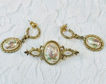 Vintage Jewelry Set 1980s Pearl Cloisonné Earrings and Brooch Set ~ Fancy! ~ Retro Formal Jewelry ~ Gold Tone ~ Beautiful