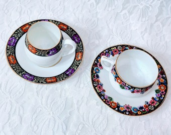 Set of Two Antique Demitasse Cup & Saucer Set Espresso Cup Set ~ BEAUTIFUL 1940's Hand Painted Eggshell Porcelain