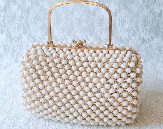 Vintage 1950's White Beaded Crochet Box Clutch Purse Handbag ~ Vintage Wedding ~ Vintage Prom