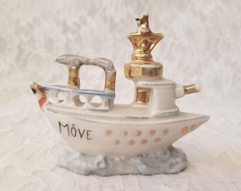 "Vintage French Steamer Ship Statue Figurine ~ French Feve? ~ Gold Trimmed Ship 3"" tall by 3.5"" wide ~ Steamship"