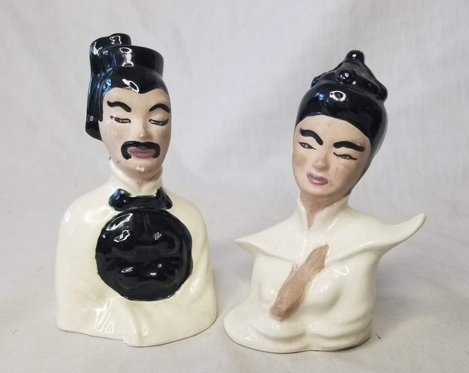 Mid Century 1950s Thai Chinese Asian Porcelain Man and Woman Head Busts ~ Collectible Figurine Set of 2