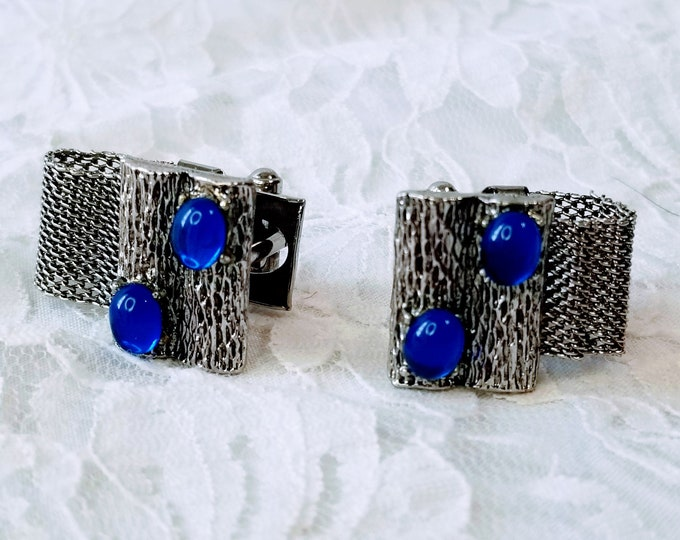 Vintage 1960s Wrap Around Silver Mesh Blue Sapphire Crystal Cufflinks ~ Gift for Him