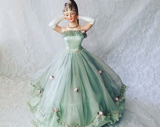 Antique Underwriters Laboratories Bisque Doll Lamp ~Arms Up ~ Organza and Tulle Dress ~ Mint Green ~ Excellent Condition