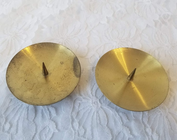 """Set of Two (2) Mid Century Brass Candle Holders ~ Marked """"Western Germany"""" ~ Perfect for Globe Candles or Column Candles ~ As-Is"""
