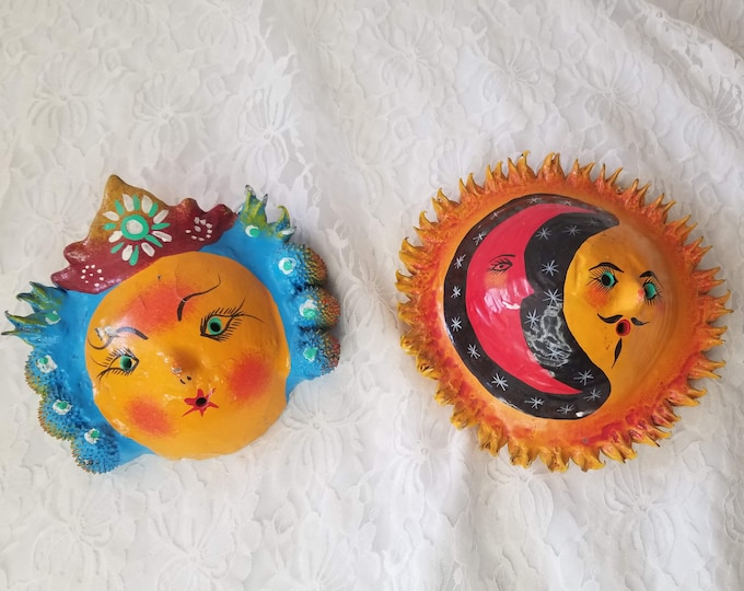Set of Two Paper Mache Folk Art Celestial Couple ~ Made in Mexico ~ Coconut, Seeds and Nuts ~ Hand Painted ~ Wall Hangings ~ AS-IS