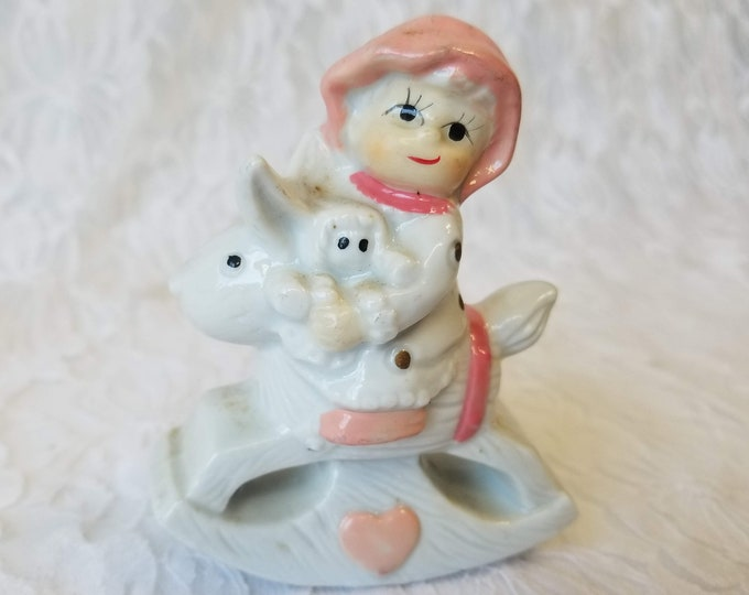 Vintage Peachy Girl with Doll on a Rabbit Toy ~ Ceramic Statue Figurine ~ Made in Japan ~ 1950s ~ Vintage Collectible Figurine
