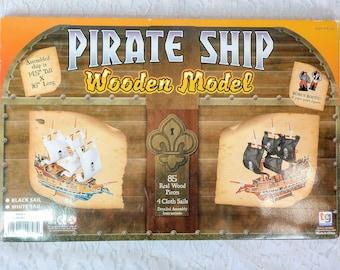 Wooden DIY Model Pirate Ship KIT w/ 4 BLACK Sails ~ 16 Pirates ~ Nautical Tall Sailing Ship ~ Boy's Room ~ Fun to Build Brand New Old Stock