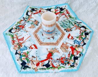 """Handmade! Large 20"""" Christmas Table Accent Runner with Matching Battery Candle ~ Snowman Blue Cute ~ Unique! ~OOAK Holiday Décor"""