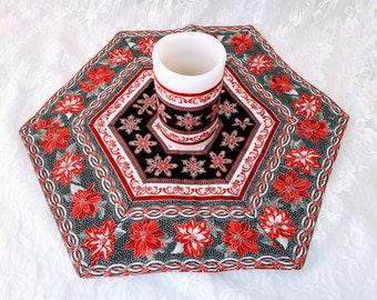 """Handmade! 17"""" Christmas Table Accent Runner with Matching Battery Candle ~ Classy Poinsettias Red Black ~ Unique! ~OOAK Holiday Décor"""