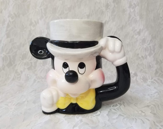 "Rare Vintage Disney Mickey Mouse ""Magician Mickey"" Wearing Top Hat Mug ~ Ceramic Mug Cup Made in Japan Mint Condition"