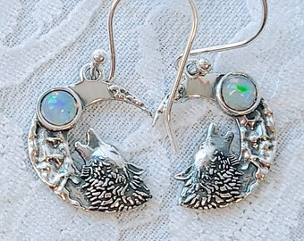 Choose You Stone! Spellcast Sterling Silver Earrings with Crystals ~ Witchcraft ~ Courage of the Wolf, Wisdom of the Moon ~ Goddess Athena