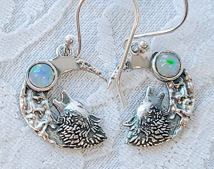 Choose Your Crystal! Spellcast Sterling Silver Earrings ~ Witchcraft ~ Courage of the Wolf, Wisdom of the Moon ~ Goddess Athena