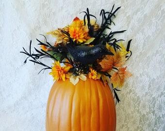 "Large 24"" Halloween Raven Pumpkin Door-Hanger Wreath Decor ~ Faux Silk Floral Arrangement ~ Fall Decorations ~ Sold As-Is"