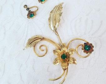 Vintage Jewelry Set Green Glass Rhinestone Earrings and Brooch Set ~ 1/20 12K gold Filled ~ Signed Allen ~ Retro Screw Back Earrings
