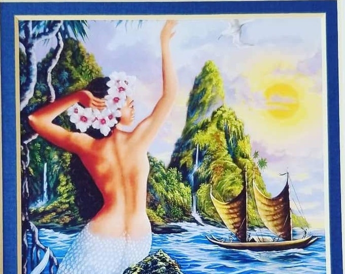"""Amazing Art Print Mermaid Hawaii by Warren Ropozo ~ Wahine From the Sea ~ Ready to Frame ~ Size 10"""" by 8"""""""