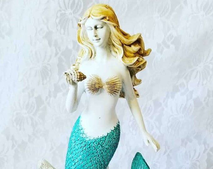 "Large Mermaid Sculpture Polyresin 1990s Statue Figure Figurine ~ 11"" by 6"" ~ Mermaids ~ Siren ~ Sea Nymph"