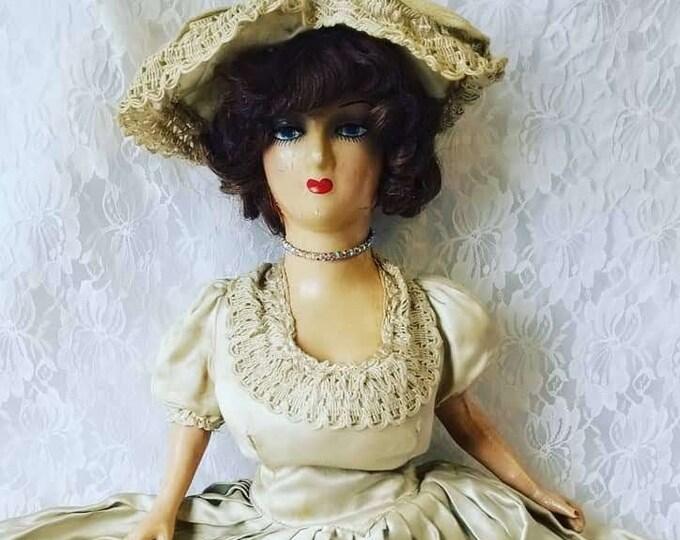 "Anikó Haunted Doll ~ Boudoir 29"" Antique Composition ~ Paranormal ~ Human Hair DNA ~ Angel Makers of Nagyrév"