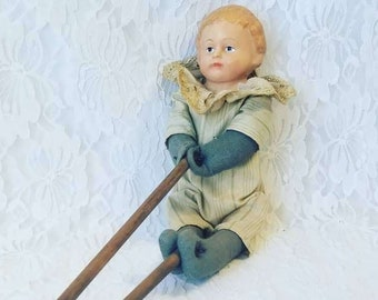 Antique 1910s Tumbler Doll On a Stick ~ Cloth Body Doll with Chalkware Head ~ Moves on a Stick Mechanism