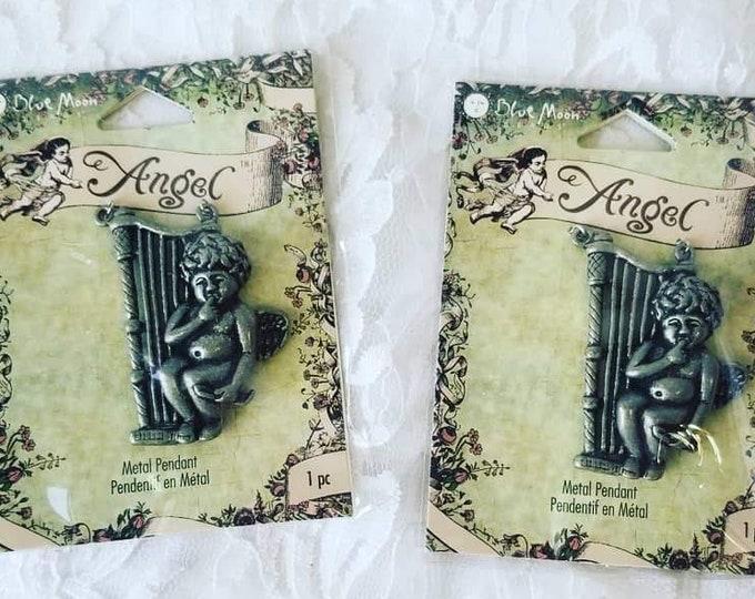 DESTASH Lot of 2 Angel Cherub Pendants ~ Jewelry Making Supplies ~ Blue Moon ~ New In Package