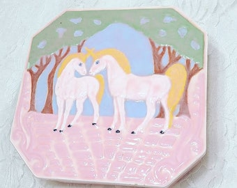 "RARE 1987 Beautiful Pink Handmade Ceramic UNICORN Large 5.5"" Square Jewelry Box ~ Lidded ~ Trinket Box ~ Container ~ Signed"
