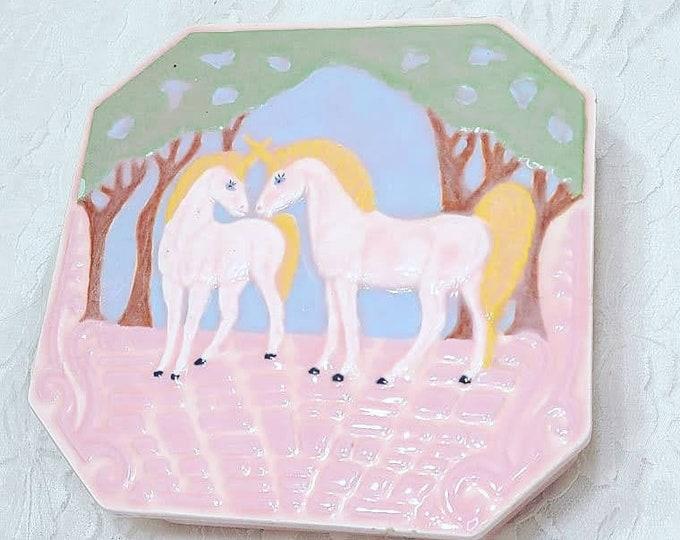 "RARE 1987 Beautiful Pink Handmade Ceramic UNICORN Large 5.5"" Square Jewelry Box ~ Lidded ~ Trinket Box ~ Container ~ Signed"