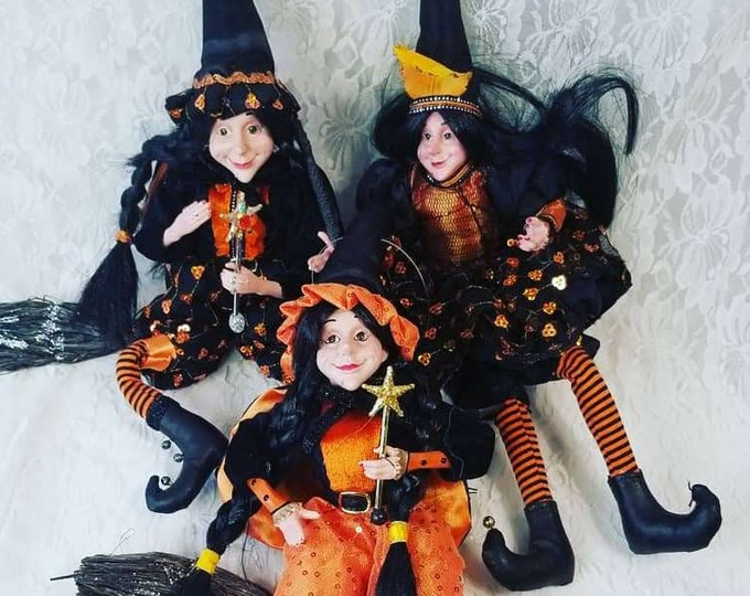"Choose One! Boutique Witch Doll 1990s Halloween Decor 19"" Figurine Halloween Collectible Fall Decorations"