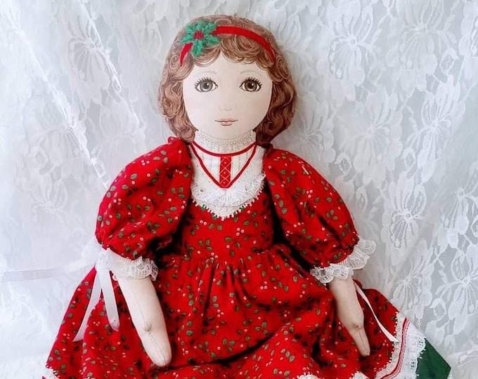 "Handmade Victorian Cloth Christmas 22"" Doll ~ Holiday Decor ~ Christmas ~ Collectible Doll ~ Stuffed Cloth"